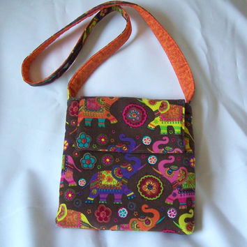 "Teen, girls crossover purse Elephant corduroy fabric one inside pocket long 41"" strap, magnetic flap closure"