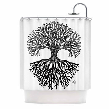 "Adriana De Leon ""The Tree of Life"" Black White Shower Curtain"
