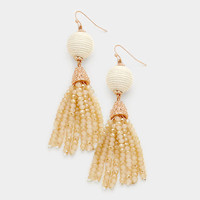 Ivory & Rose Gold Thread Ball Faceted Bead Tassel Drop Earrings