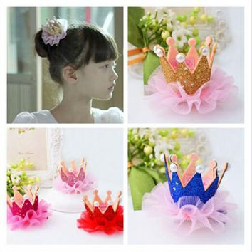 FJ021 Newest design Girl's 3D tiaras hair accessory  multi colors Lace crown with pearls barrettes for party  10pcs/lot