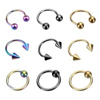 """18 Pieces Captive Bead Ring BCR and Horseshoe Circular Barbell CBR (Nose, Ear) 18 Gauge 5/16"""""""