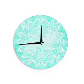 "Nika Martinez ""Boho Flower Mandala in Teal"" Aqua Green Wall Clock"