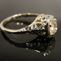 18 Karat White Gold Filigree 1920s Engagement Ring