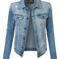 LE3NO Womens Oversized Long Sleeve Distressed Boyfriend Denim Jacket with Pockets