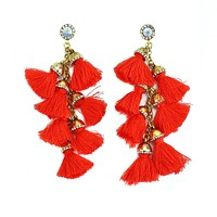Long Tassel Tiered Earrings