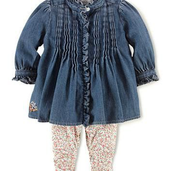 Ralph Lauren Childrenswear Denim Top & Floral Print Leggings Set