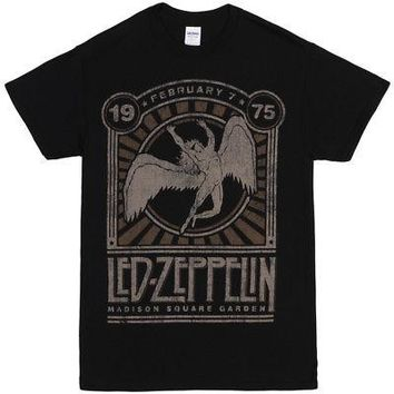 Led Zeppelin '75 Madison Square Garden Poster Licensed Adult T-Shirt - Black