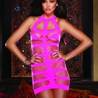 Neon Pink Seamless Strappy Halter Dress Thong Set