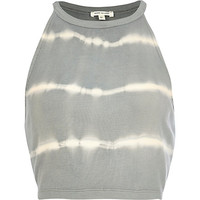 River Island Womens Grey tie dye racer front crop top