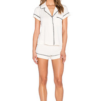 Gisele Pj Short Sleeve Pj Set in Creme