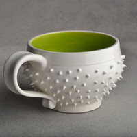 Spiky Mug White and Green Dangerously Spiky mug by symmetricalpottery