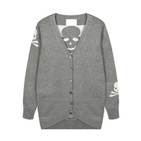 Rock Style Skull Longline Cardigan for Girls