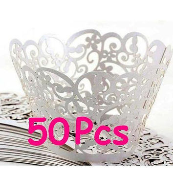 Filigree Paper Laser Cupcake Wrappers Fancy white wedding cake Stencil cupcake liner fancy flower lace wrapper wedding party wraps collars