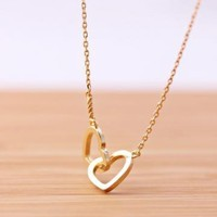 crossed heart never apart necklace in gold by bythecoco on Zibbet