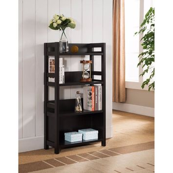 Adorning Bookcase With Wide Shelves, Brown -Benzara