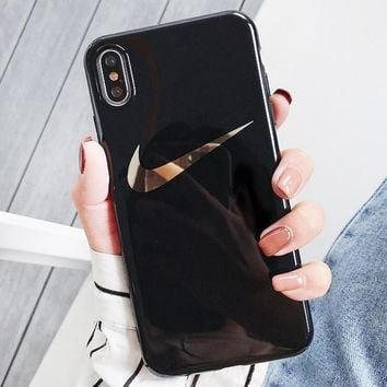NIKE New fashion hook print protective cover phone case Black