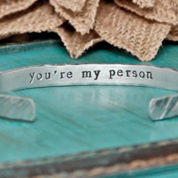 you're my person hand stamped bracelet, bracelet, best friends, friendship bracelet