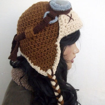 Crochet Aviator Hat Set with Goggles - tan and beige-Photo Prop - adult size