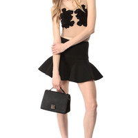 Black Trumpet Flare Mini Skirt