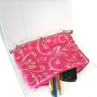 Binder Pencil Case Hot Pink Pencil Pouch for 3 Ring Binder Hot Pink & White Swirl   Back to School Ready to Ship Kids Gift Organizer