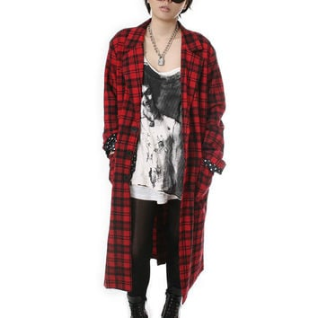 RTBU Punk Rock Unisex Flannel Plaid Tartan Long Slouchy Oversized Blazer Jacket Trench Coat Covert