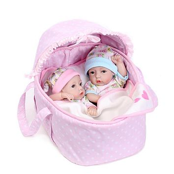 Soft Silicone Lifelike Twins Reborn Baby Dolls Cute Realistic Boy Girl Doll Simulation Baby Infants Doll Toy Children Girls Gift