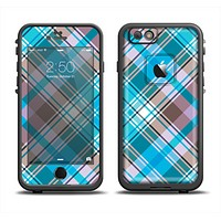 The Gray & Bright Blue Plaid Layered Pattern V5 Apple iPhone 6/6s LifeProof Fre Case Skin Set