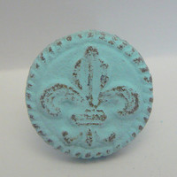 Fleur de lis Cast Iron Round Drawer Pull / Knob / Cabinet Knobs Shabby Chic Distressed Rustic French Decor Light Blue Cottage Chic Beach