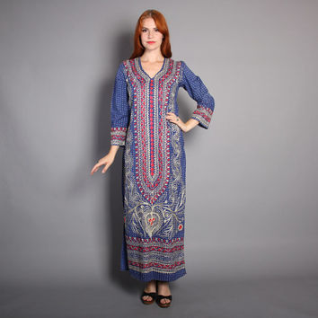 70s EMBROIDERED Ethnic  DRESS / Indian Cotton MAXI, xs-s
