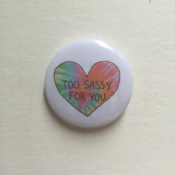 "1"" Tumblr Sassy Heart Pin Button/Badges"