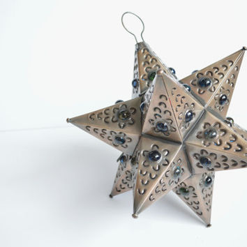 Warm Bronze Tin Glass Bead Star Lantern, Medium