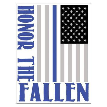 DCCKU3R Honor The Fallen Thin Blue Line Rectangular Decal Sticker