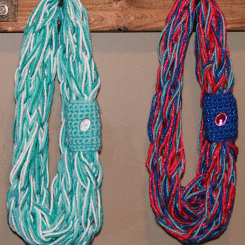 Disney's Frozen Inspired Princess Scarf For Girls. Sparkly Infinity Scarf.  Choose From The Anna or Elsa Style Scarf.