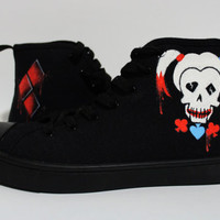 Harley Quinn Black Off-Brand Converse Style Halloween Shoes