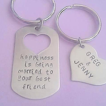 Couples Dog Tag and Heart Keychain Set - Stainless Steel - marriage, loved ones, together, happiness