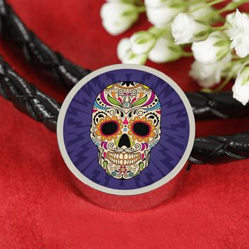 Sugar Skull Pandora-Style Charm Woven Double-Braided Leather Bracelet