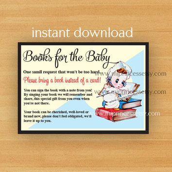 Insert Card - Baby Shower insert Bring a Book Card - INSTANT DOWNLOAD - Bring a Book Instead of a Card - Printable - print at home