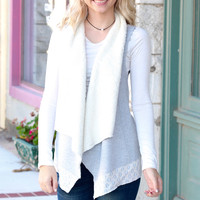 Snuggle Up Lace Trim + Fur Lined Vest {H. Grey}