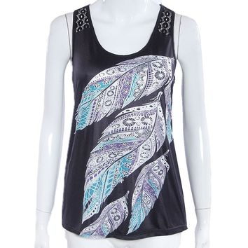 2016 Female Low Cut Feather Print Crochet Hollow Out Black Casual Tank Cute Vest Tops For Womens
