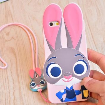 Case + Strap ZOOTOPIA Rabbit Judy Fox Nick Silicone 3D Cover For iPhone 5S SE 6 6s 7 8 Plus Lovely Cute Animal Phone Accessories