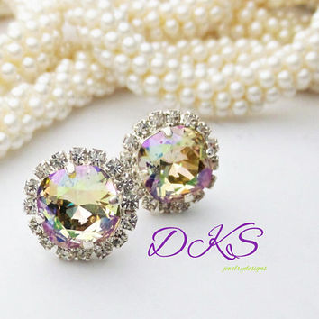 Swarovski 10 mm Square Halo Bridal Studs, Luminous Rainbow, Shimmer, Sparkle, DKSJewelrydesigns, FREE SHIPPING