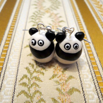 Panda bear earrings cute animal earrings handmade by NellinShoppi