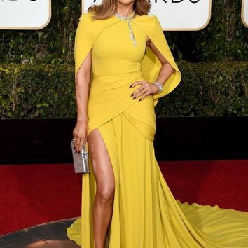 Trendy Best Dresses At 73rd Annual Golden Globe Award 2019 Yellow Long Celebrity With Jacket Side Split Chiffon Red Carpet Dress