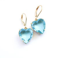 Aqua Blue Earrings Heart Earrings Rhinestone Earrings Vintage Glass Drop Love Bridal Earrings Wedding Something Blue Romantic Leverback