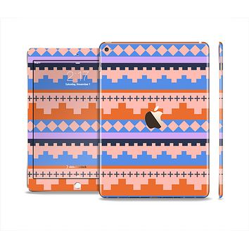 The Pink-Blue & Coral Tribal Ethic Geometric Pattern Skin Set for the Apple iPad Air 2