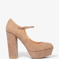 Faux Suede Platform Mary Janes