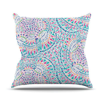 "Miranda Mol ""Kaleidoscopic White"" Aqua Abstract Outdoor Throw Pillow"