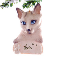 Siamese Cat Personalized Christmas Ornament - Blue eyed siamese cat ornament personalized free