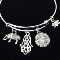 Luck, Protection, New Beginnings, Enlightenment Yoga Inspired Charms on a Silver Adjustable Bangle Charm Bracelet Expandable