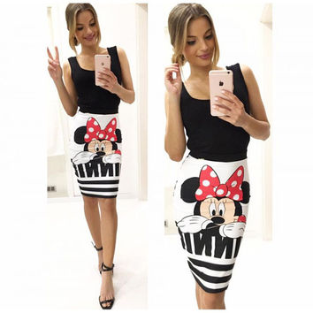 Knee Length Cute Mouse Pattern Print Ukraine Evening Party Women Summer Style Sexy Pencil Skirt